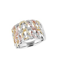 Effy Trio Diamond 14K White Gold 14K Yellow Gold And 14K Rose Gold Ring 0.62 Tcw Tri Color
