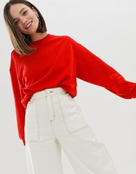 Monki Sweatshirt In Red Grey