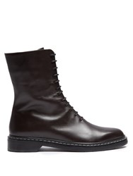 The Row Fara Lace Up Leather Boots Dark Brown