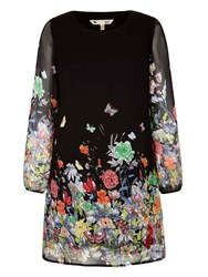 Yumi Flower And Butterfly Print Tunic Black