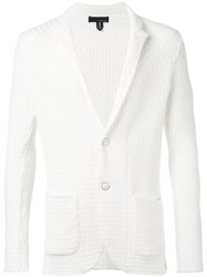 Lardini Textured Blazer Men Cotton L White