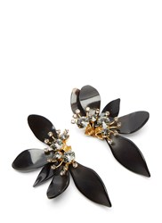 Marni Horn Petal Crystal Flower Earrings Black