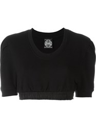 Nasir Mazhar Puff Sleeve Crop Top Black