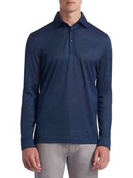 Candc California Collection Long Sleeve Cotton Polo Blue