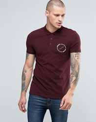 Asos Muscle Polo With Circle Text Chest Print In Oxblood Oxblood Red