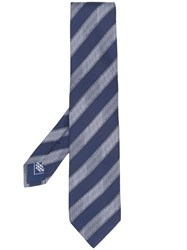 Brioni Diagonal Stripes Silk Tie Blue