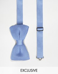 Noose And Monkey Knitted Bow Tie Sky Blue