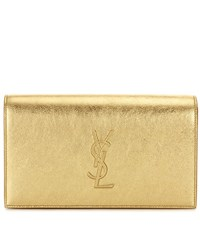 Saint Laurent Kate Leather Clutch Gold