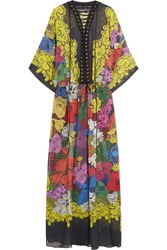 Just Cavalli Printed Silk Chiffon Gown Yellow
