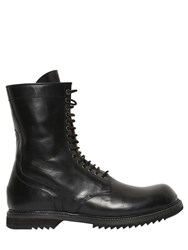 Rick Owens Horse Leather Combat Boots