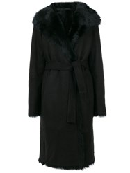 Joseph Tie Waist Fur Trim Coat Lamb Skin Lamb Fur Black