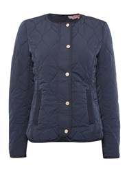 Joules Collarless Quilted Jacket Navy
