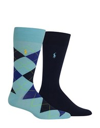 Polo Ralph Lauren Cotton Blend Socks 2 Pack Aqua