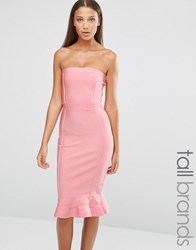Missguided Tall Exclusive Premium Bandage Frill Hem Dress Rose Pink