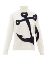 N 21 No. Anchor Jacquard Roll Neck Wool Sweater Ivory