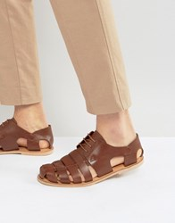 Zign Leather Caged Sandals Brown