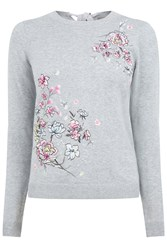 Oasis Embroidered Lotus Knit Grey