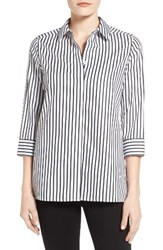 Foxcroft Women's Gigi Non Iron Stripe Sateen Tunic Shirt