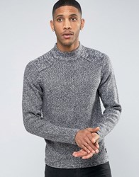 Only And Sons Jumper With High Neck In Mixed Yarn With Seam Detail Moonlit Navy