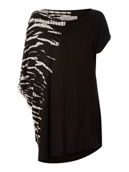 Label Lab Rib Cage Tie Dye Asymetric Tee Black