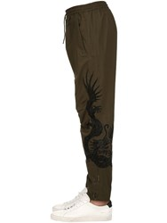 Mhi 19Cm Embroidered Cotton Biker Pants Green