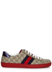 Gucci Taupe Monogrammed Coated Canvas Trainers Beige