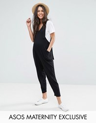 Asos Maternity Dungaree Jumpsuit With Strapping Detail Black
