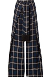 Mother Of Pearl Georgina Tie Front Checked Twill Wide Leg Pants Midnight Blue