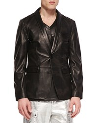 Daniel Won Leather Camo Blazer With Removable Sleeves And Lapel Black