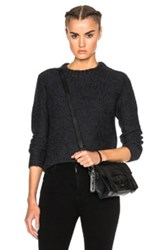James Perse Cropped Cashmere Crew Sweater In Gray