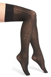 Dkny Variegated Ribbed Over The Knee Socks Gray