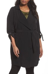 Junarose Plus Size Women's Kaiza Trench Coat Black Beauty