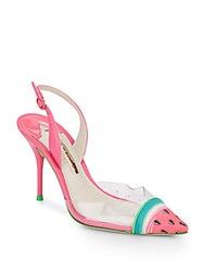 Sophia Webster Watermelon Print Leather And Translucent Slingback Pumps Magenta