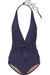 Adriana Degreas Knotted Halterneck Swimsuit Midnight Blue