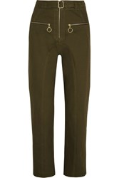 Self Portrait Belted Cotton Blend Twill Straight Leg Pants Army Green
