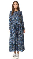 Edit Long Sleeve Pleat Side Midi Dress Blue Floral Print