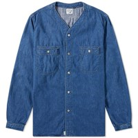Orslow No Collar Shirt Blue