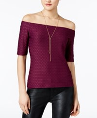 Guess Hadley Off The Shoulder Textured Top Dark Purple