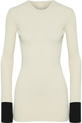 Petar Petrov Two Tone Ribbed Knit Sweater Off White
