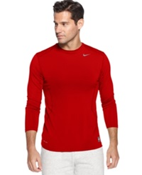 Nike T Shirt Pro Combat Dri Fit Fitted Long Sleeve Tee Varsity Red