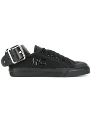 Raf Simons Adidas By Ankle Buckle Lace Up Sneakers Black