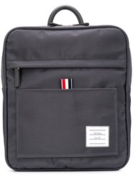 Thom Browne Zip Top Nylon Book Bag Grey