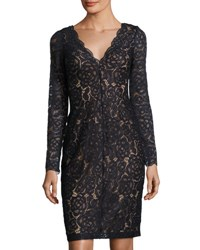 Vera Wang Long Sleeve Lace Cocktail Dress Navy