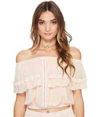 Jens Pirate Booty Flame Lily Top Summer Quartz Women's Clothing White