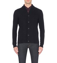 Reiss Denman Cotton Cardigan Navy