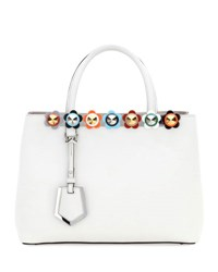 Fendi 2Jours Petite Floral Studded Satchel Bag White Pattern