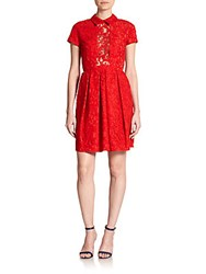Carven Sheer Panel Lace Dress Red