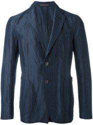 The Gigi 'Angie' Striped Blazer Men Cotton Acetate Rayon Viscose 48 Blue