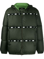 Mr And Mrs Italy Logo Strip Padded Jacket Green