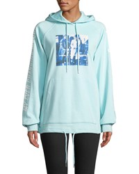 Opening Ceremony Style Council Boxy Graphic Pullover Hoodie Blue